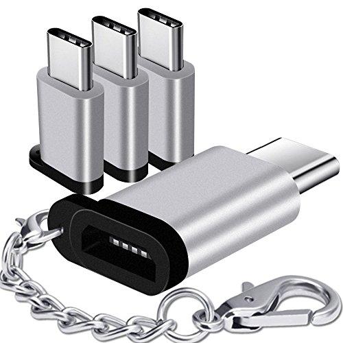 Keychain, Asstar USB Type C Male to Micro USB Female Connector for Samsung Galaxy S9 S8 Plus Note 8 MacBook LG G5 G6 V20 V30 Nexus 5 X 6P Google Pixel 2 XL (Silver) ()