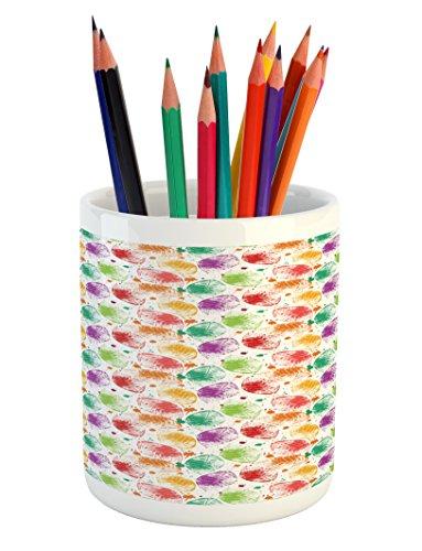 Cheap  Lunarable Paint Pencil Pen Holder, Foliage Leaves Blots with Retro Vibes Worn..