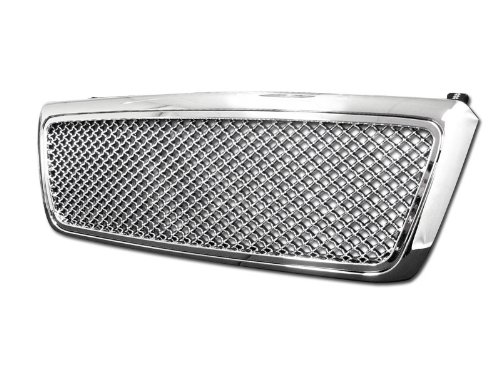 2004 F150 Grill (R&L Racing Chrome Center Mesh Upper Front Hood Bumper Grill Grille Cover 1P 04-08 Ford F150)