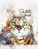 Sketch book: A Cute Green Eyed Cat Large Print