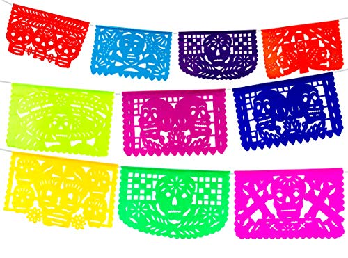 2 Pack. Skull and Cross Dia de los Muertos Mexican Papel Picado Tissue Paper Banner. Colorful Day of the Dead Decorations Medium Size Panels