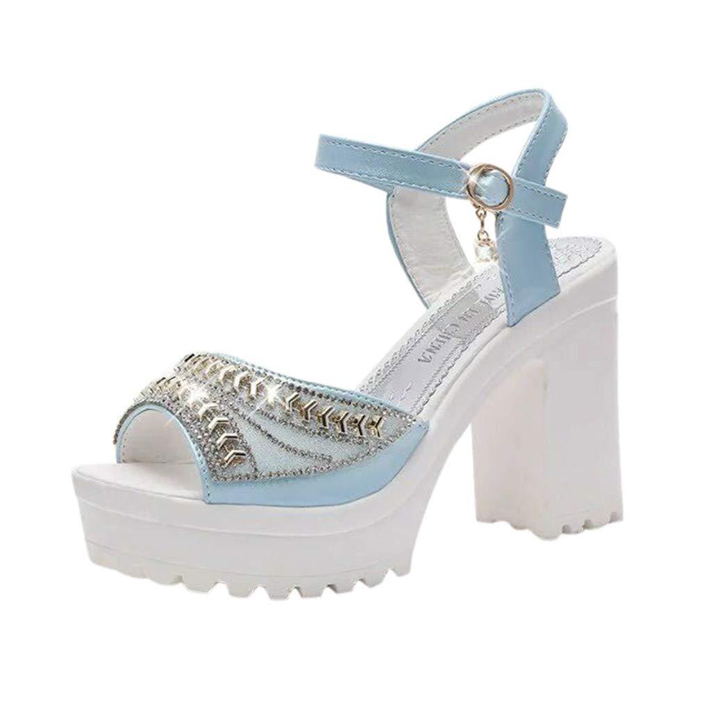 Cebbay Sandales Femme, ChaussuresTalon Haut épais et Talon Muffin avec Boucle Chaussons, Strass Bout Ouvert Shoes