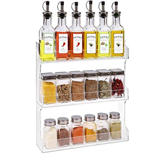 3 Tier Clear Acrylic Nail Polish Organizer Wall Mount Kitchen Spice Rack New Ebay