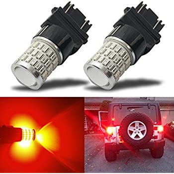 iBrightstar Newest 9-30V Super Bright Low Power Dual Brightness 3156 3157 3057 4157K LED Bulbs with Projector Replacement for Tail Brake Lights,Brilliant Red
