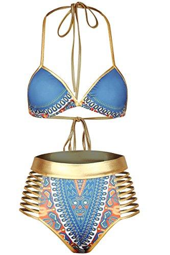 Sundray Womens Printed Push up Padded Bikini Cutout High Waist Swimwear Beachwear L