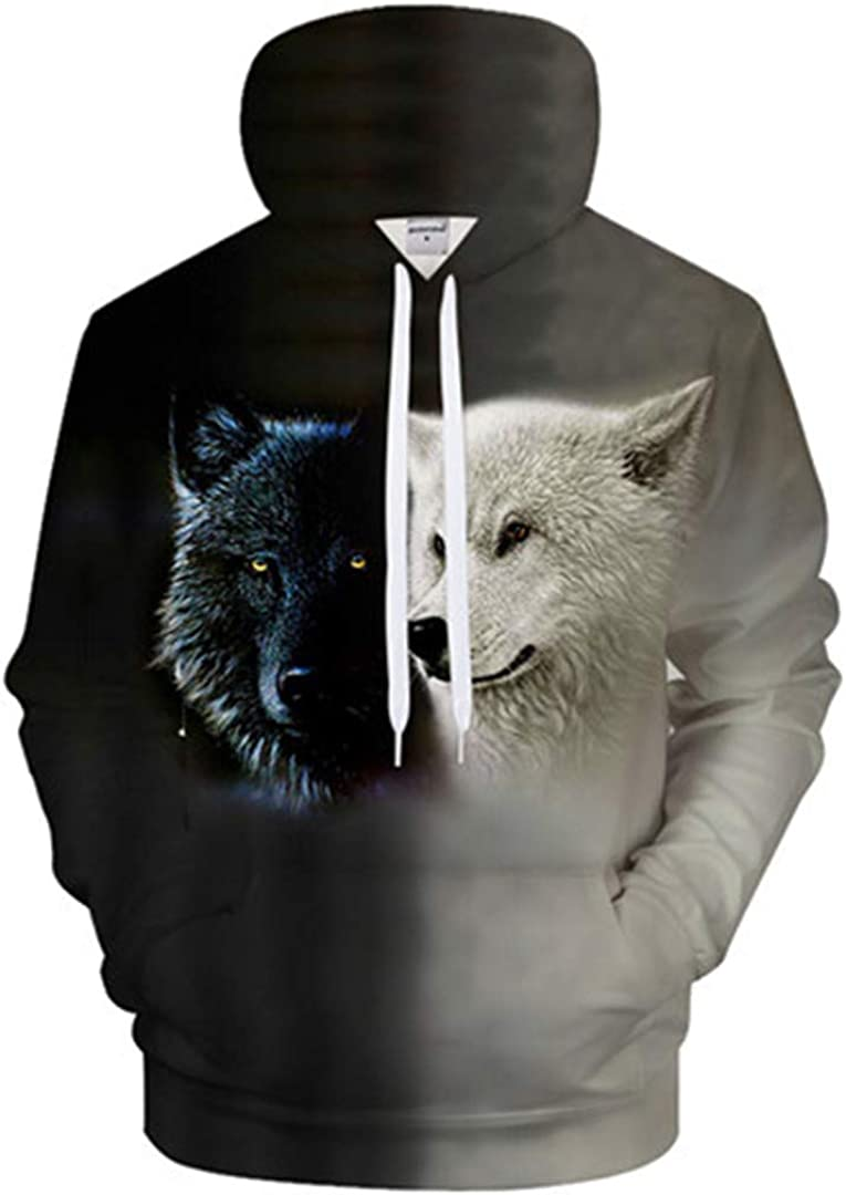 Animal Hoodies Wolf Sweatshirt Men Funny 3D Tracksuit Streatwear Coat