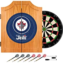 Trademark Global NHL Team Dart Cabinet Includes Darts and Board
