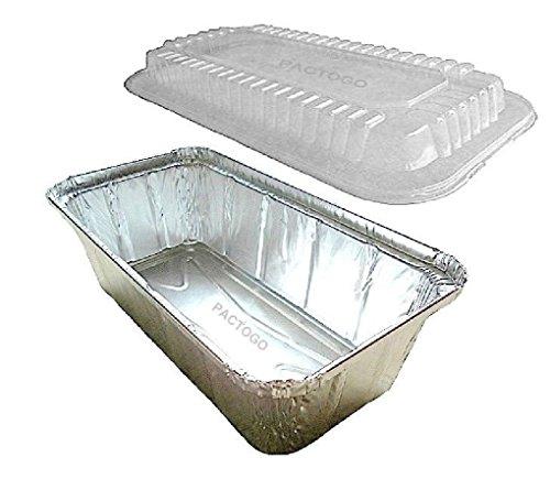 A86 2 lb. Aluminum Foil Closable (IVC) Loaf/Bread Pan Tins w/Dome Lid