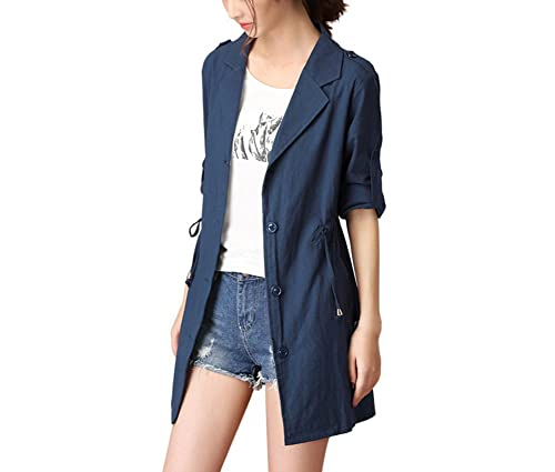 Scothen Chaqueta para mujer Trenchcoat Onesize Chaqueta para mujer de manga larga Chaqueta con capuc...