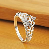 Fashion Women Lady Princess Queen Crown Silver Plated Ring Wedding Crystal Ring (8)