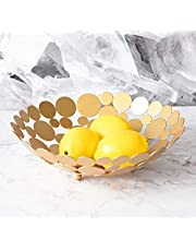 Metal Creative Countertop Fruit Basket Bowl, Large Round Black Decorative Table Centerpiece Holder Stand for Fruit Vegetable, Bread, Candy and Other Household Items, 11.6 Inch