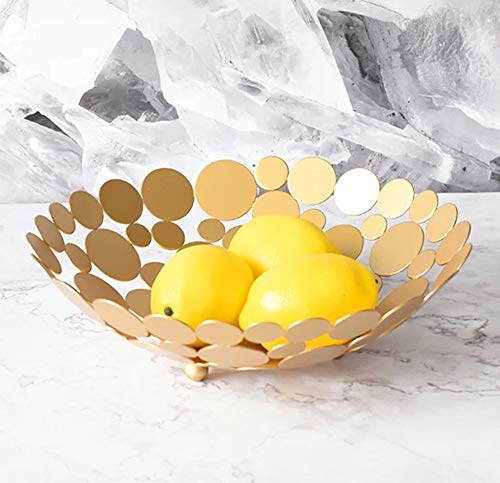 Metal Creative Countertop Fruit Basket Bowl, Large Round Gold Decorative Table Centerpiece Holder Stand for Fruit Vegetable, Bread, Candy and Other Household Items, 11.6 Inch - Fruit Vegetable Round Bowl