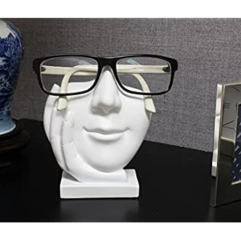 """Artsy Face Eyeglass Holder Stand - Sculpted Nose for Eyeglasses or Sunglasses, """"Life is Good"""", White"""