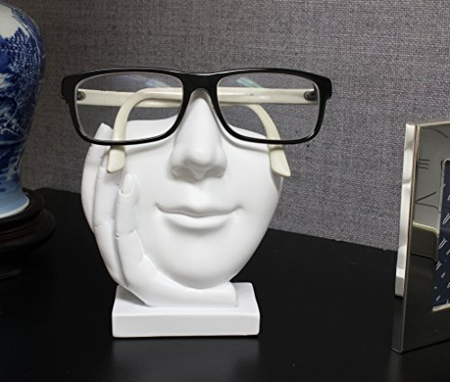 JewelryNanny Artsy Face Eyeglass Holder Stand - Sculpted Nose for Eyeglasses or Sunglasses, Life is Good, White ()