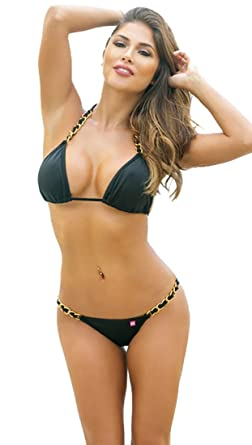 5e4fc11979975 Amazon.com  Chynna Dolls Swimwear Oahu Got Me In Chains Scrunch Bikini Black   Clothing