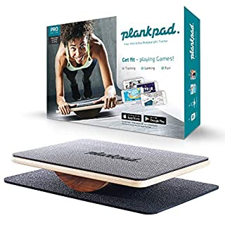 Plankpad - Balance Board & Bodyweight Fitness Trainer with Training App for iOS & Android - Interactive Plank Abs Trainer in Maple Wood & Walnut - as seen on German Shark Tank