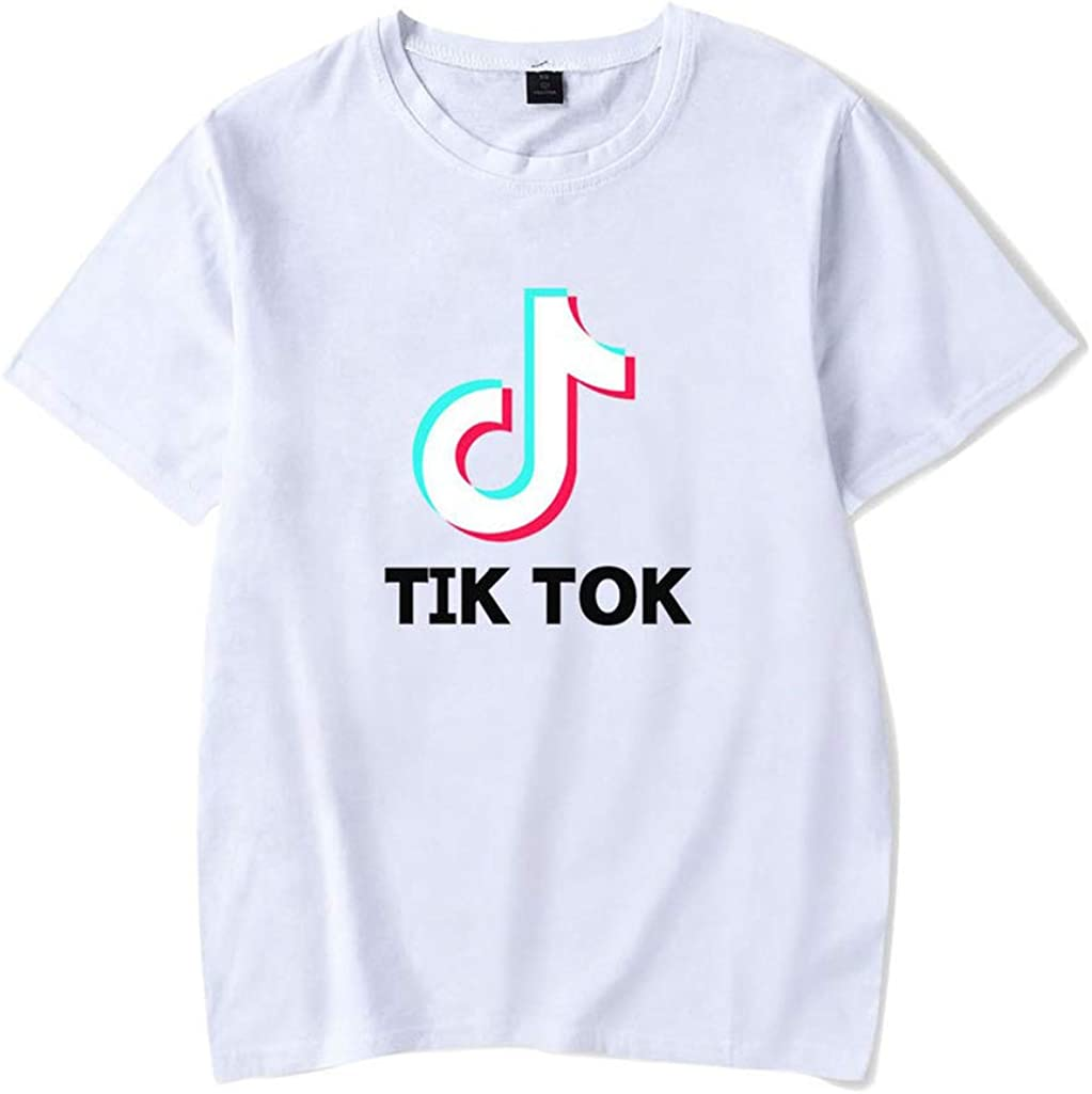 FEIRAN TIK Tok Imprimir Hombres y Mujeres Camisetas Verano Ocio Camiseta de Manga Corta