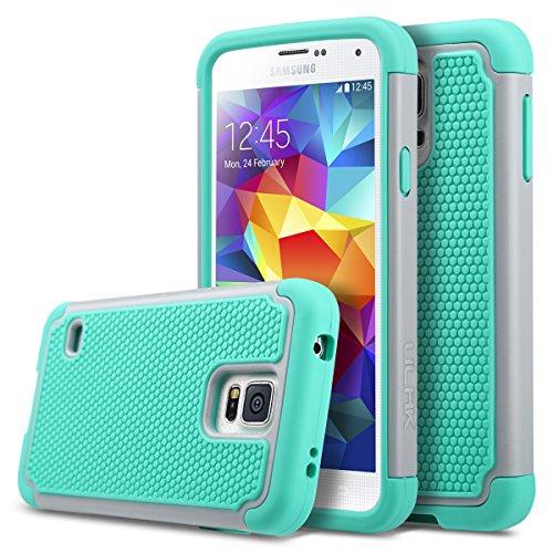 Funda Galaxy S5, ULAK Slim Hybrid resistente a los golpes de silicona Funda protectora de plástico duro duro Shell para Galaxy S5 S V I9600 (5.1 pulgadas) Versión 2014 - púrpura + gris gris + verde menta