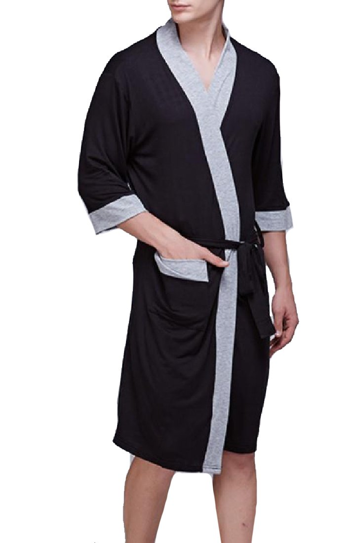 MLG Men Fine Cotton Loungewear Wrap-Front Luxurious Terry Robe Navy Blue XL