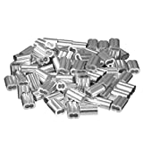 uxcell® 0.12 inch (3.0mm) Diameter Wire Rope Aluminum Sleeves Clip Fittings Cable Crimps 100pcs