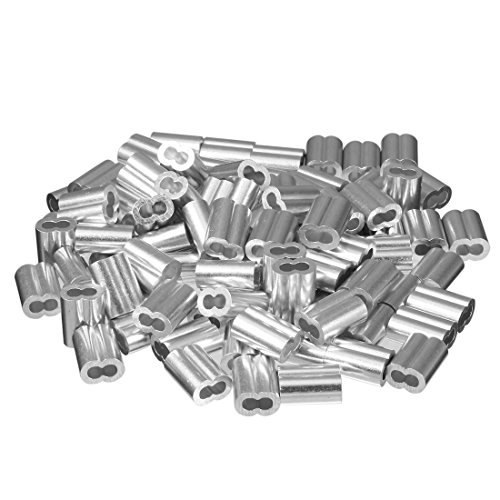uxcell 0.12 inch 3.0mm Diameter Wire Rope Aluminum Sleeves Clip Fittings Cable Crimps 100pcs