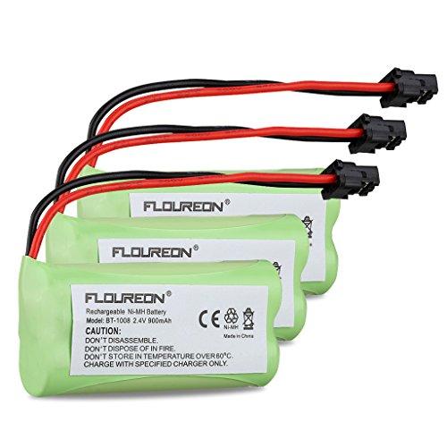 FLOUREON 3 Packs Cordless Home Phone Battery for Uniden BT1008 BT-1008 BT1016 BT-1016 BT1021 BT-1021 WITH43-269 WX12077 Sanyo CAS-D6325 - Home Phone Battery