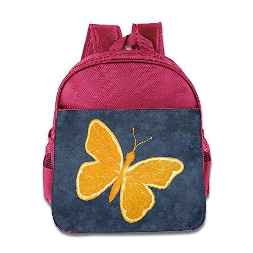 (Custom Orange Butterfly Superb Kids School Bag Backpack For 1-6 Years Old Pink)