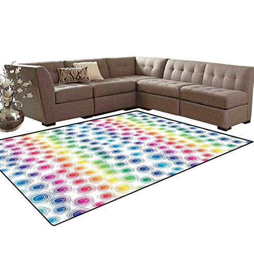 Colorful Bath Mats for Floors Funky Geometrical Retro Style Spirals Circles Twirled Lines Dots Spots Pattern Floor Mat Pattern 5'x7' Multicolor