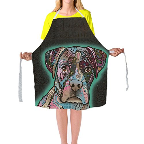 Catetime Boxer Chef Apron Lovely Dogs Animals Kitchen Cooking Apron For Men And Women 29X34Inch Big Size Bib Aprons by CafeTime