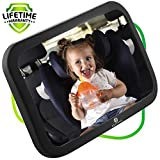 Backseat Baby Mirror by Helteko - Infant Car Mirror for Rear Facing Newborn Car seat - Safety Mirror for Kids and Toddlers - Wide Angle Crystal Clear View - Adjustable and Stable Base - Easy to Use