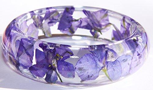 Handmade Real Flower Botanical Garden Resin Bangle Bracelet.{G-58}Size 68mm,height 23mm.Free USA shipping.