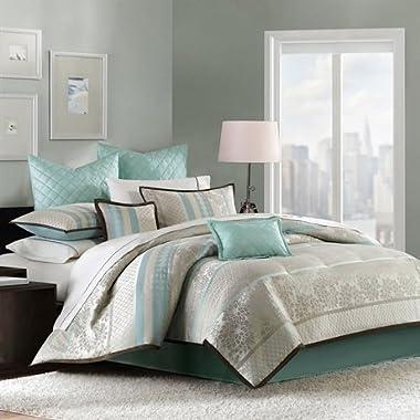 Madison Park Paige 8 Piece Comforter Set Aqua King