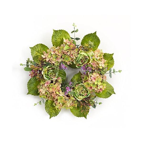 Melrose International, LLC Spring Floral Hydrangea Peony Wreath