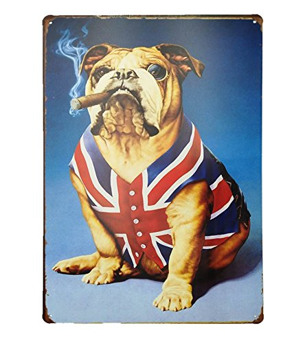 - UNiQ Designs British Bulldog with Cigar Tin Signs - Vintage Dog and Cigar Tin Sign is a perfect addition to hanging bar signs, What Happens in the Garage sign, My Garage My Rules Garage Poster 12 x 8