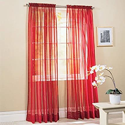 Polyester Window Curtains//Drape//Panel//Scarf Assorted Solid Color Curtain Panel