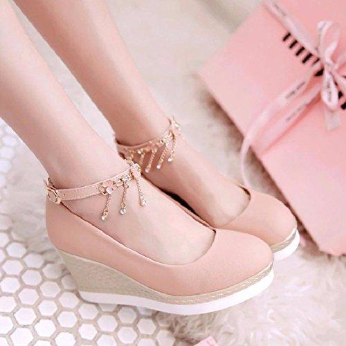 Tacchi Donna I Da Grosso Tacchi I Spesso Metri Grasso Per Adatto Alto Pink Scarpe Sandali Alti Metri Summer GTVERNH vAtxtB