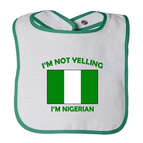(Cute Rascals I'M Not Yelling I Am Nigerian Nigeria Tot Contrast Trim Terry Bib White/Green)