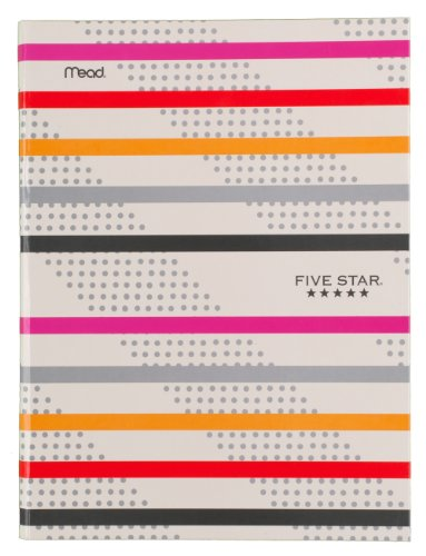 "Five Star Composition Book / Notebook, College Ruled Paper, 100 Sheets, 9-7/8"" x 7-1/2"", Hardbound, Orange/Pink Stripe (72830)"