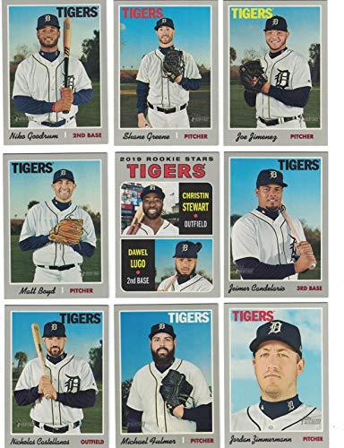 Detroit Tigers/Complete 2019 Topps Heritage Baseball Team Set! (9 Cards) Includes 25 Bonus Tigers Cards!