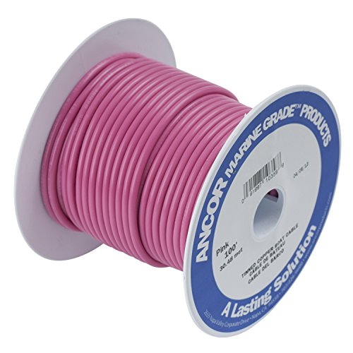 Ancor 102610 Marine Grade Electrical Primary Tinned Copper Boat Wiring (16-Gauge, Pink, 100-Feet)