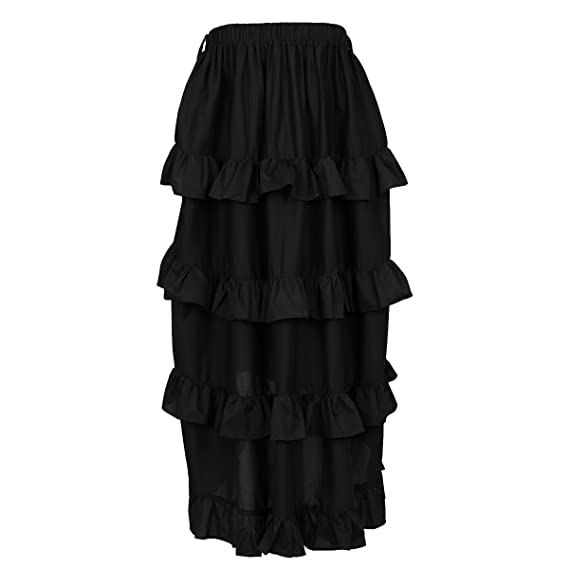 Steampunk Skirts | Bustle Skirts, Lace Skirts, Ruffle Skirts NIGHT BUTTERFLY Womens Costume Steampunk Cocktail Party Skirts Black High-Low $25.00 AT vintagedancer.com