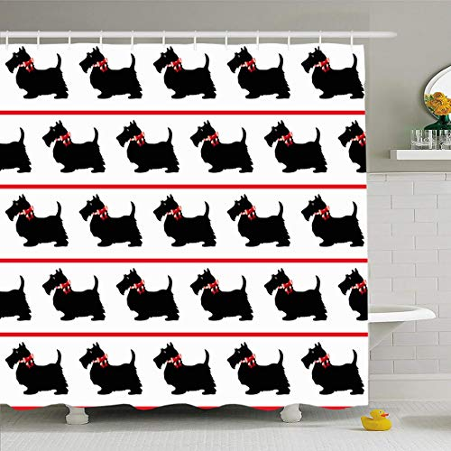 Ahawoso Shower Curtain 72x72 Inches Domestic Scottish Black Scottie Dogs Red Bows On Terrier Vintage Beard Breed Waterproof Polyester Fabric Set with Hooks]()