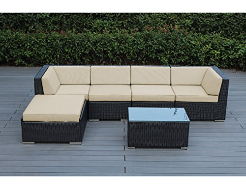 Antique Beige Sunbrella - Ohana 6-Piece Outdoor Patio Furniture Sectional Conversation Set, Black Wicker with Sunbrella Antique Beige Cushions - No Assembly with Free Patio Cover
