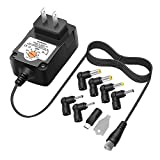 Powseed 3V 4.5V 5V 6V 7.5V 9V 12V Ac Adapter 12W Switching Power Supply with Adjustable Multi Voltage and Tips for Small Electronics at Charger Cords