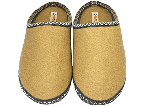 BeComfy - Zapatillas de estar por casa de Fieltro para hombre Beige