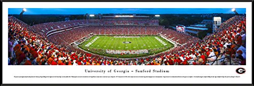 Georgia Football - 50 Yard - Twilight - Blakeway Panoramas College Sports Posters with Standard Frame