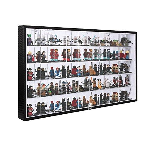 JackCubeDesign 50 LEGO Minifigures Miniature Figurines Acrylic Display Case Storage Cabinet Shelf Wall Mount Rack Organizer Stand Carbon Fiber Style(Black, 23.74 x 14.17 x 2.24 inches)-:MK313A