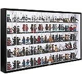 JackCubeDesign 50 LEGO Minifigures Miniature Figurines Acrylic Display Case Storage Cabinet Shelf Wall Mount Rack Organizer Stand Carbon Fiber Style(Black, 23.74 x 14.17 x 2.24 inches)-MK313A