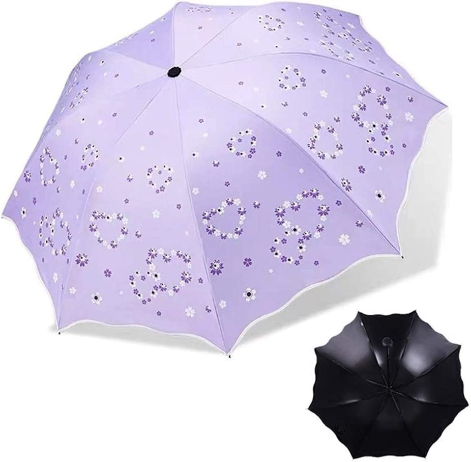 Color : 33533 Purple XIANGNAIZUI Quality Folding Umbrella for Women Brand Travel Anti-UV Windproof Rain Flower Female Sun Girl Parasol Pocket Umbrellas