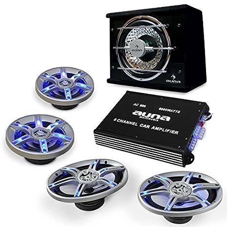 Auna 'BeatPilot FX 211' - Set Sono Auto Complet Comprenant : Caisson de Basses 25cm, ampli 4 canaux, 2 Haut-parleurs 16,5cm et Set de câbles (Effets de lumière LED)